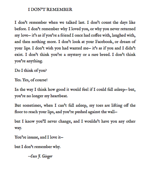 I DON'T REMEMBER BY: COCO J. GINGER