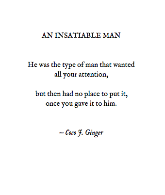 AN INSATIABLE MAN BY: Coco J. Ginger