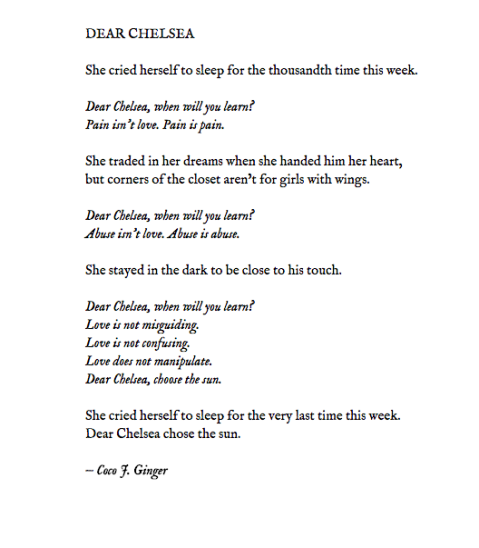 DEAR CHELSEA BY: COCO J. GINGER