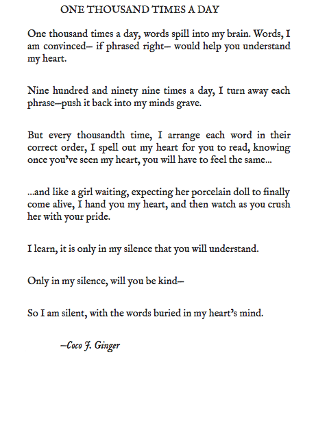 ONE THOUSAND TIMES A DAY BY: COCO J. GINGER