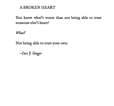 A BROKEN HEART BY COCO J GINGER